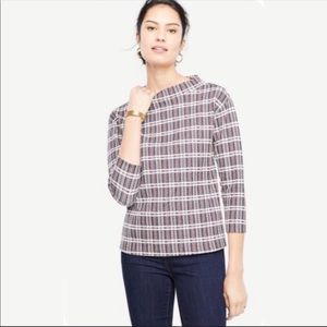 NWOT Ann Taylor Mock Neck Plaid 3/4 Sleeve Top S
